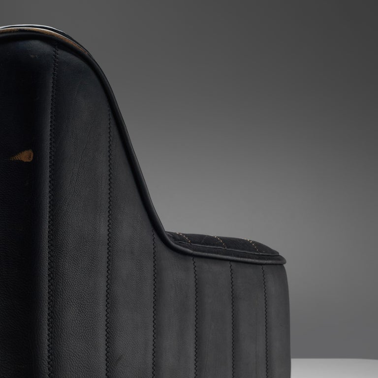 De Sede Sofa DS84 in Patinated Black Leather For Sale 1