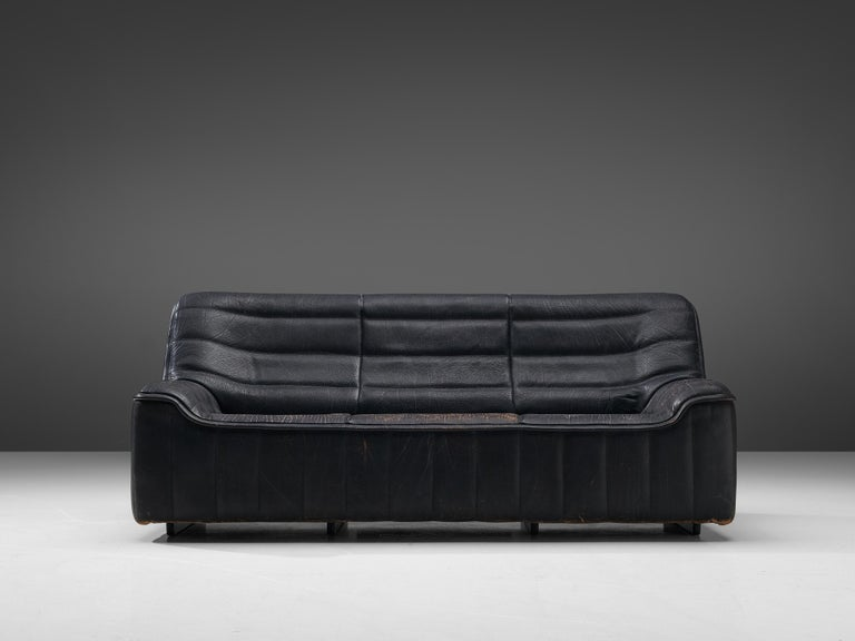 De Sede Sofa DS84 in Patinated Black Leather For Sale 2