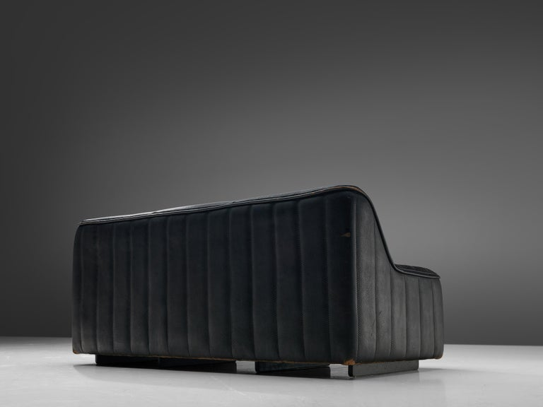 De Sede Sofa DS84 in Patinated Black Leather For Sale 3