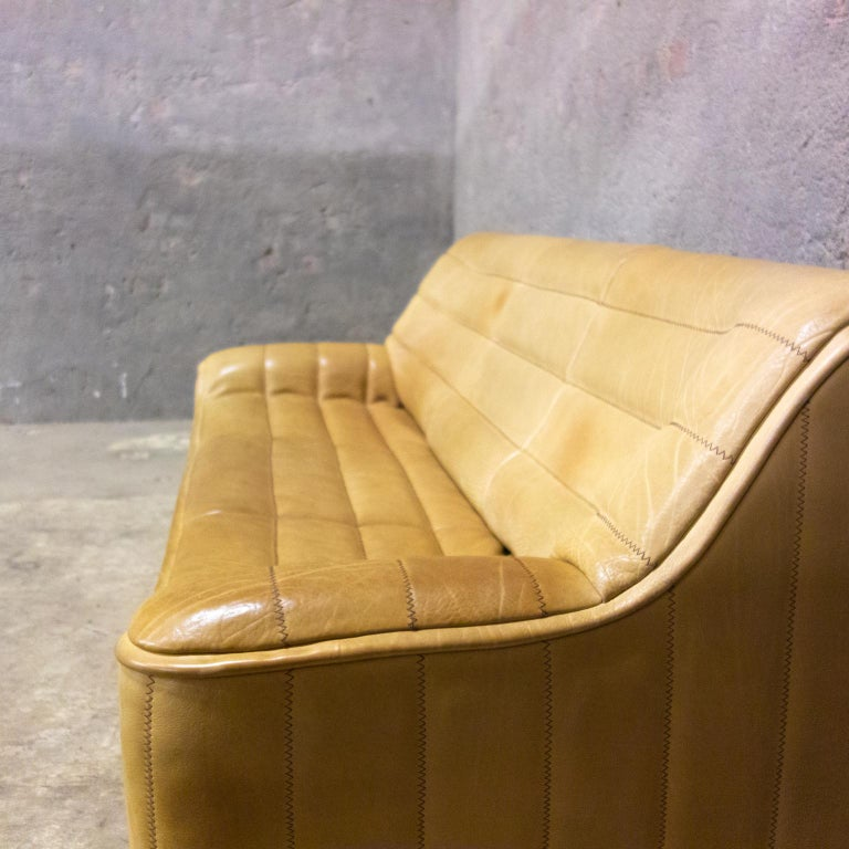 Hand-Crafted De Sede Sofa Model Ds84, Brown Leather, Switzerland, Swiss Made, 1970s For Sale