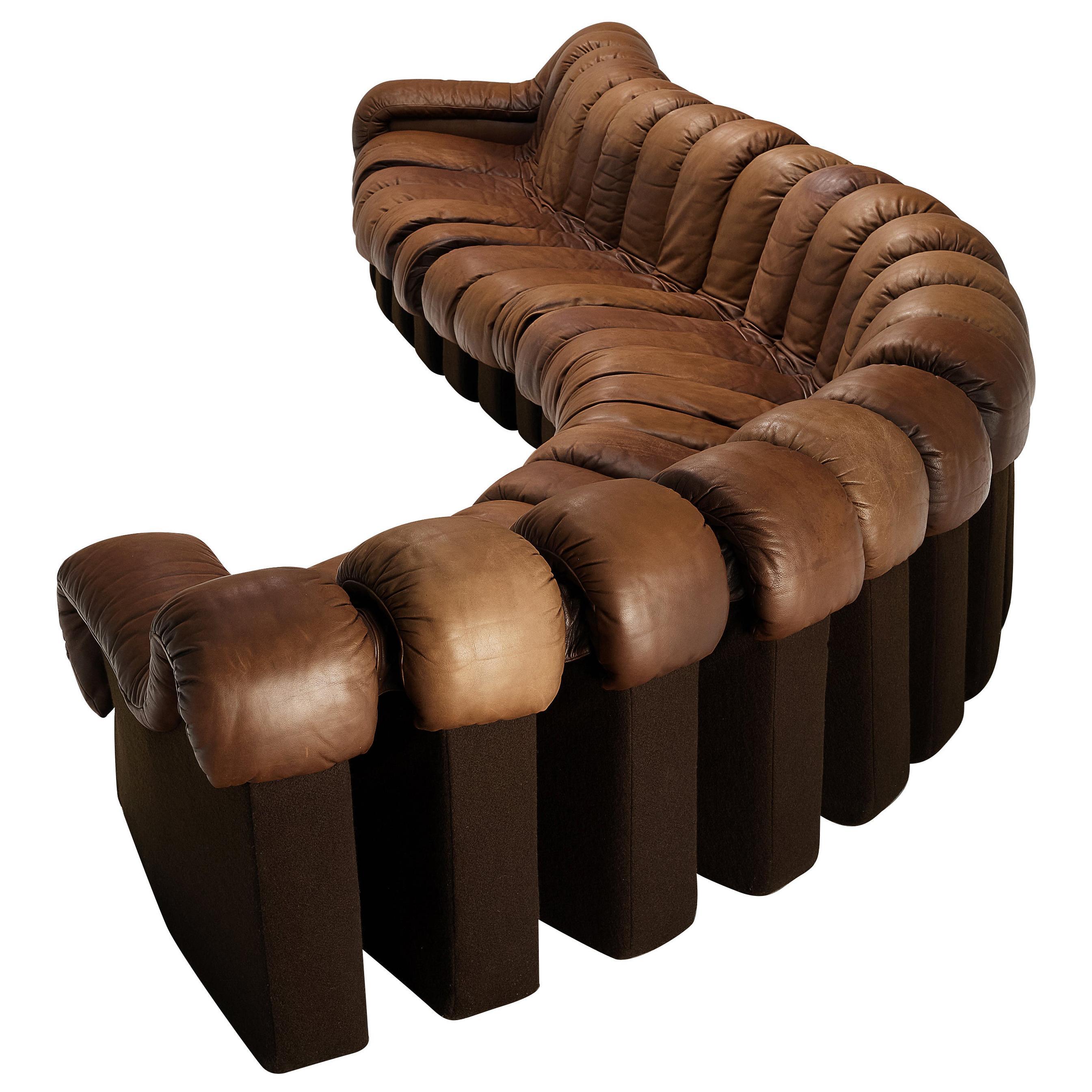 De Sede Sofa Model 'Snake DS-600' in Brown Leather