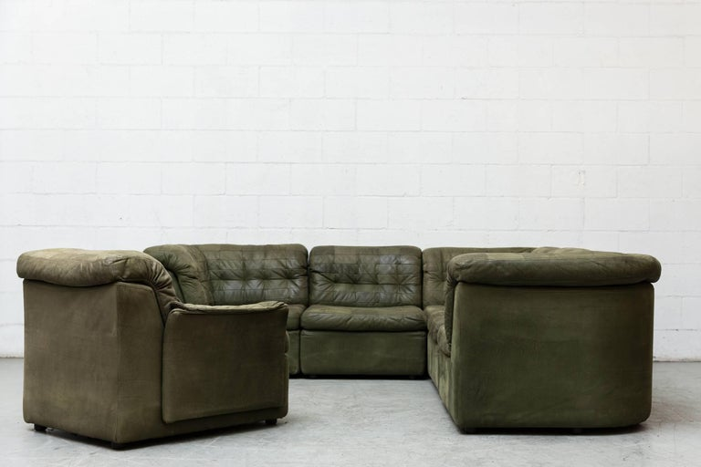 Mid-Century Modern De Sede Style Green Patchwork Sofa Set and Armchair For Sale
