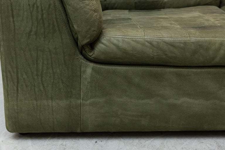 De Sede Style Green Patchwork Sofa Set and Armchair In Good Condition For Sale In Los Angeles, CA