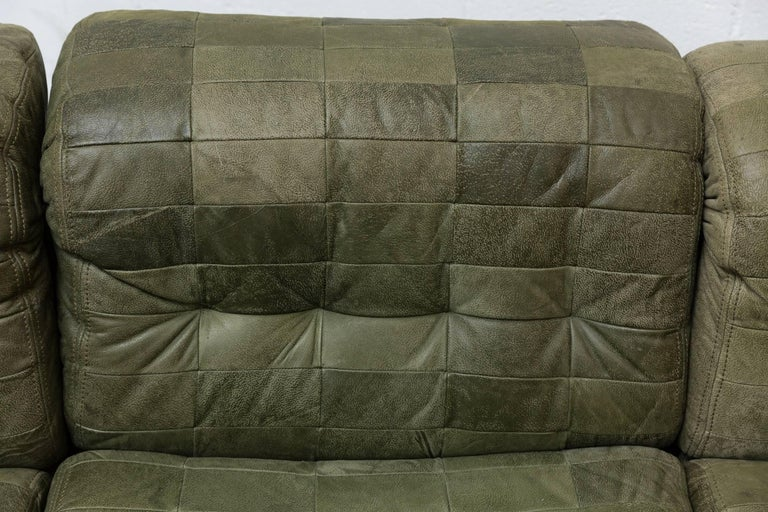 Leather De Sede Style Green Patchwork Sofa Set and Armchair For Sale