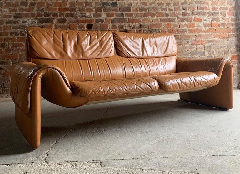 De Sede, Switzerland Cognac Leather Sofa Design No DS2011, circa 1980 For Sale 4