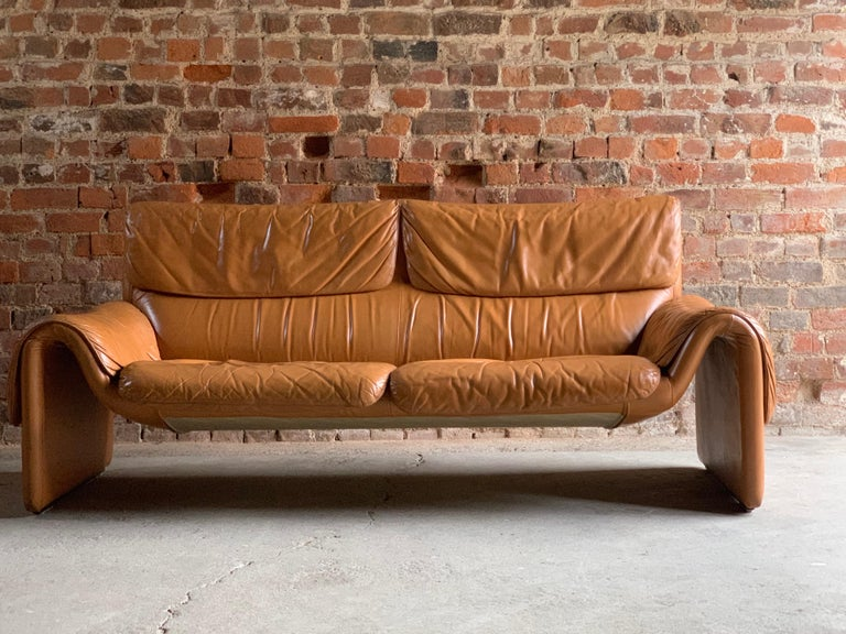 De Sede, Switzerland Cognac leather sofa design no DS2011, circa 1980   De Sede Switzerland Cognac leather two-seat sofa model DS-2011 circa 1980, This fabulous one owner sofa has a wonderful aged look giving it real character and style, its