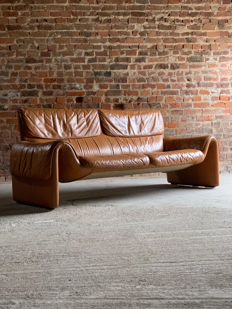 Swiss De Sede, Switzerland Cognac Leather Sofa Design No DS2011, circa 1980 For Sale
