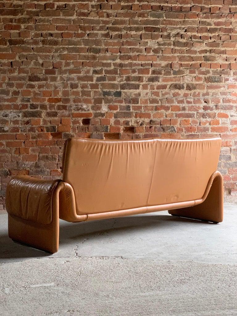 Late 20th Century De Sede, Switzerland Cognac Leather Sofa Design No DS2011, circa 1980  For Sale