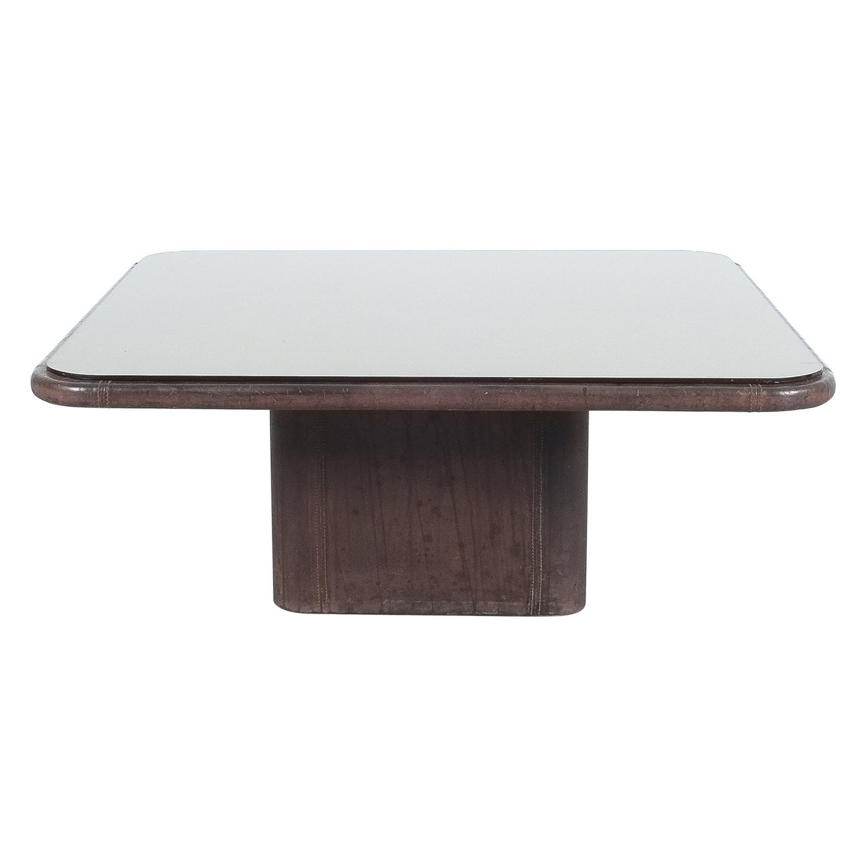 De Sede Table DS 47 Square Coffee Table Leather Bronze Mirror, Circa 1970