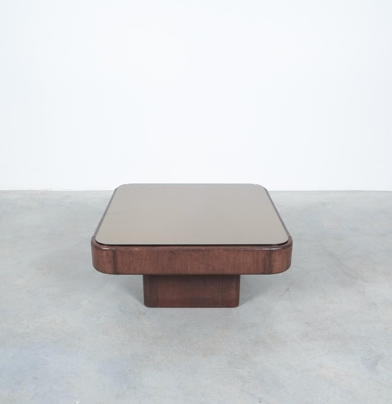 Swiss De Sede Table DS 47 Square Table Leather Bronze Mirror, Circa 1970 For Sale