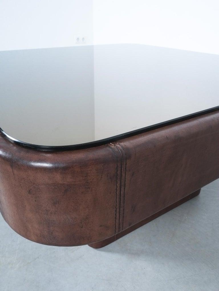 Bronzed De Sede Table DS 47 Square Table Leather Bronze Mirror, Circa 1970 For Sale