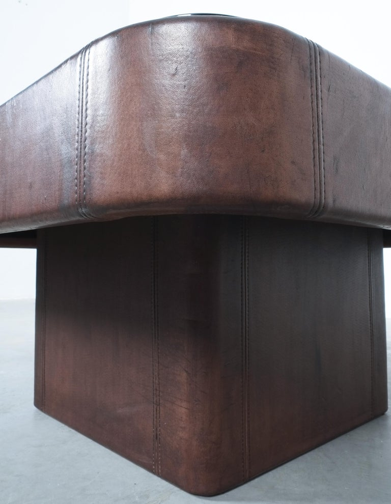 De Sede Table DS 47 Square Table Leather Bronze Mirror, Circa 1970 In Good Condition For Sale In Vienna, AT