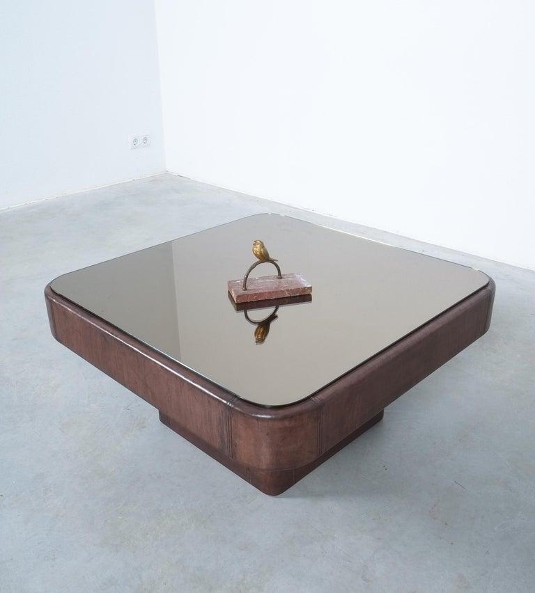 De Sede Table DS 47 Square Table Leather Bronze Mirror, Circa 1970 For Sale 1