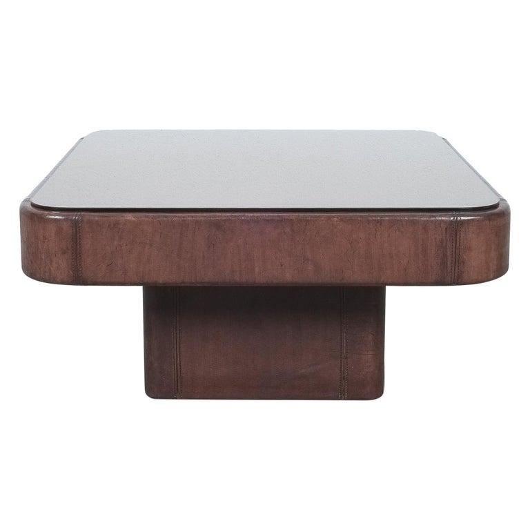 De Sede Table DS 47 Square Table Leather Bronze Mirror, Circa 1970 For Sale