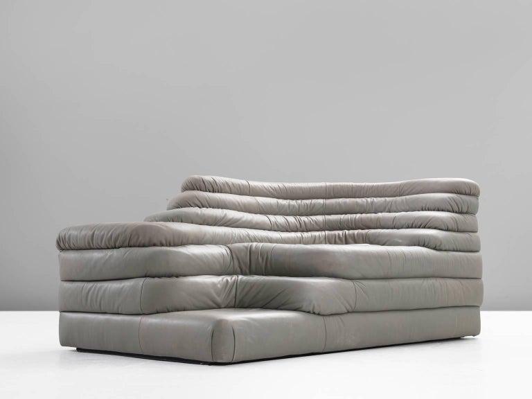 Post-Modern De Sede 'Terrazza' Landscape in Grey Leather For Sale