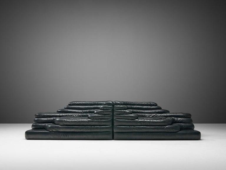 Swiss De Sede 'Terrazza' Landscapes in Black Leather by Ubald Klug For Sale