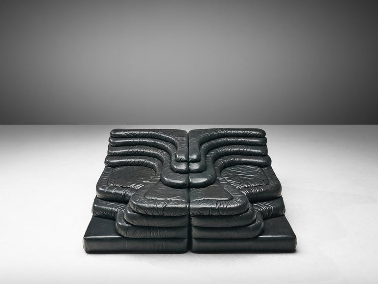 Late 20th Century De Sede 'Terrazza' Landscapes in Black Leather by Ubald Klug For Sale