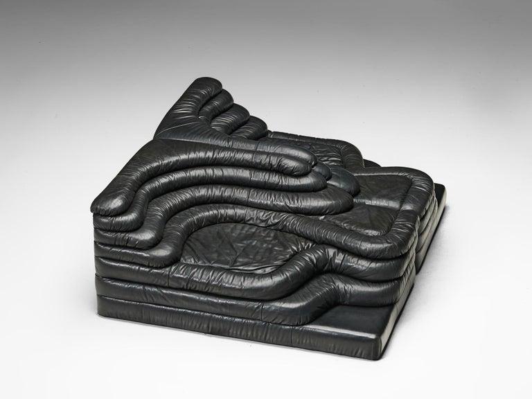 De Sede 'Terrazza' Landscapes in Black Leather by Ubald Klug For Sale 1