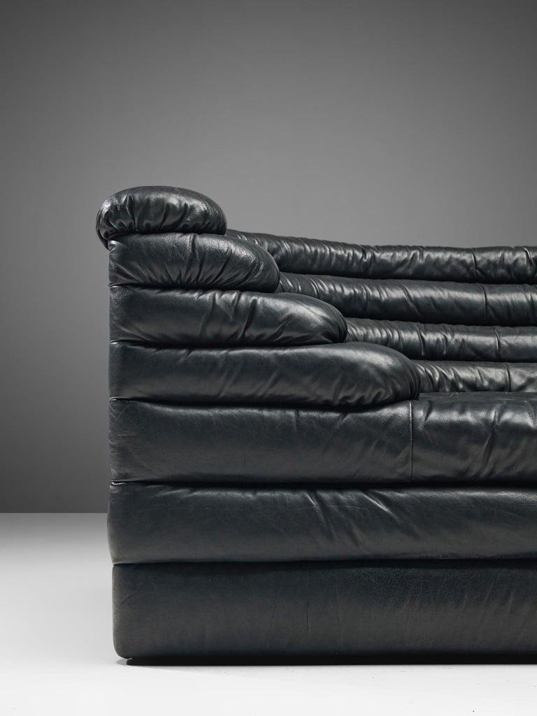 De Sede 'Terrazza' Landscapes in Black Leather by Ubald Klug For Sale 2