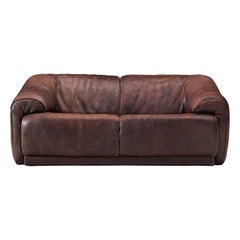 De Sede Two-Seat Sofa in Dark Brown Buffalo Leather