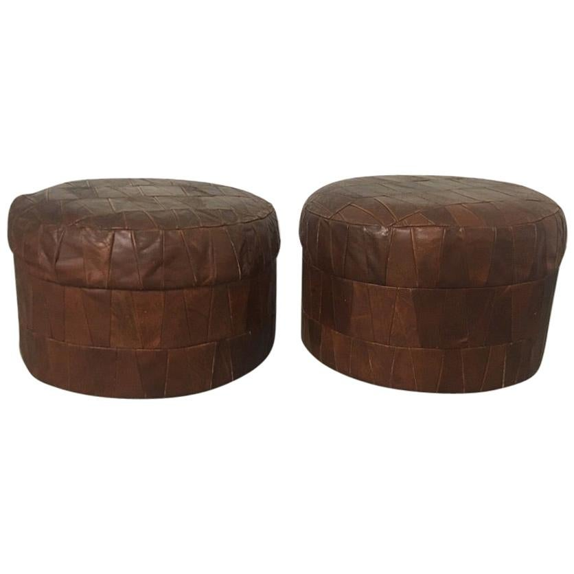 De Sede Vintage Pair of Brown Patchwork Leather Poufs or Ottoman, 1970