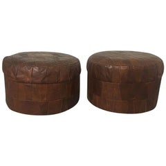 De Sede Vintage Pair of Brown Patchwork Leather Poufs or Ottoman, 1970