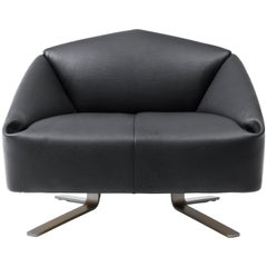 De Sede Wide Leather Folds Armchair by Alfredo Häberli