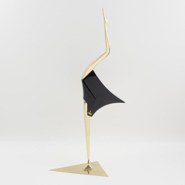 De Stijl Firenze Italy 1970s Giant Wood Brass Bird Sculpture, a Pair For Sale 6