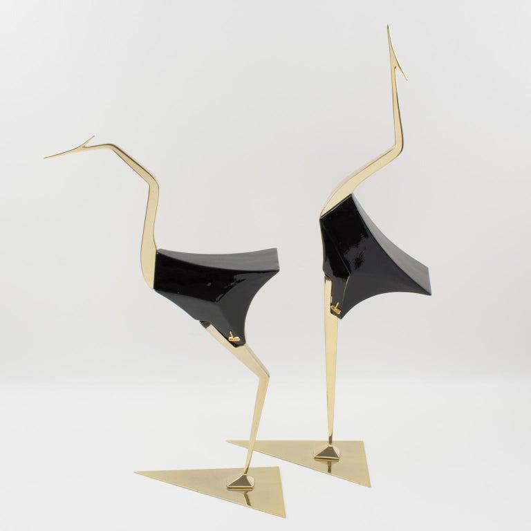 Mid-Century Modern De Stijl Firenze Italy 1970s Giant Wood Brass Bird Sculpture, a Pair For Sale