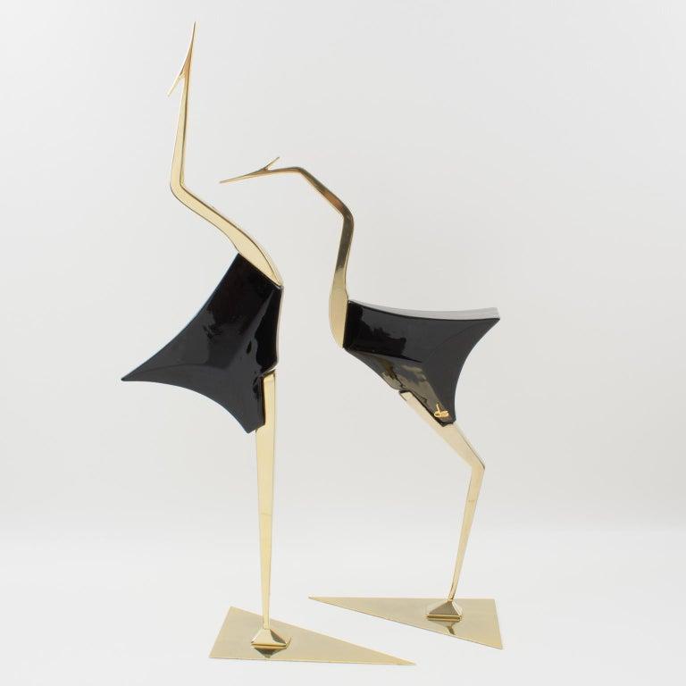 Italian De Stijl Firenze Italy 1970s Giant Wood Brass Bird Sculpture, a Pair For Sale