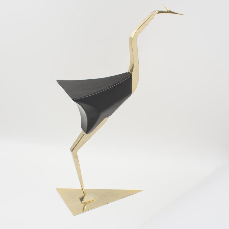 Late 20th Century De Stijl Firenze Italy 1970s Giant Wood Brass Bird Sculpture, a Pair For Sale