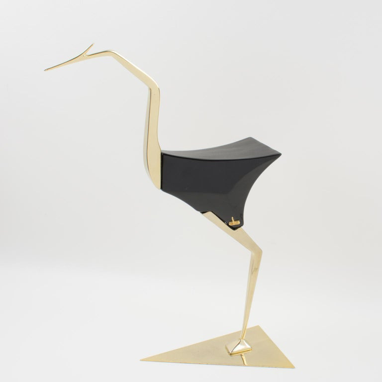 De Stijl Firenze Italy 1970s Giant Wood Brass Bird Sculpture, a Pair For Sale 1