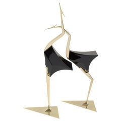 De Stijl Firenze Italy 1970s Giant Wood Brass Bird Sculpture, a Pair