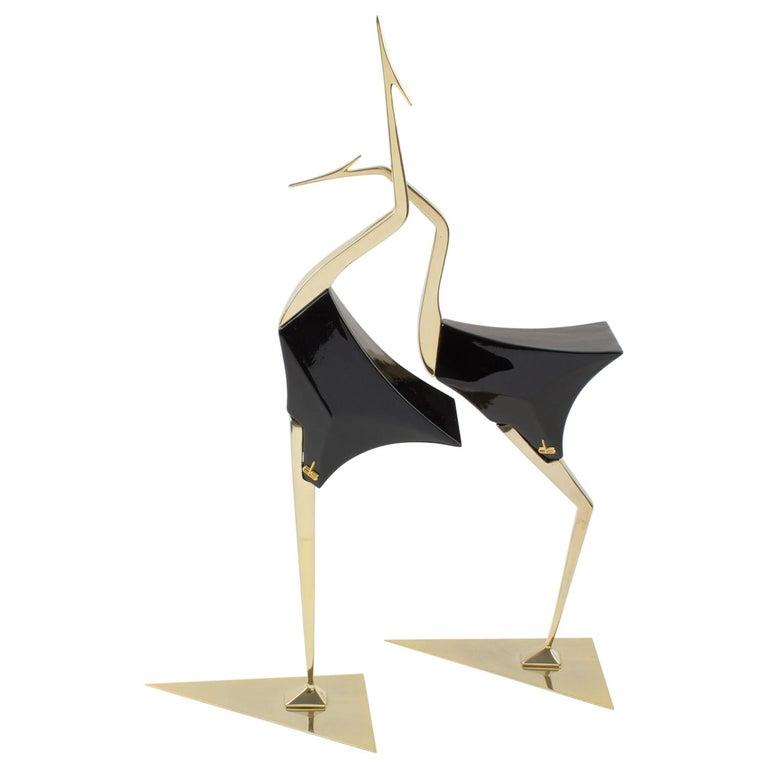 De Stijl Firenze Italy 1970s Giant Wood Brass Bird Sculpture, a Pair For Sale