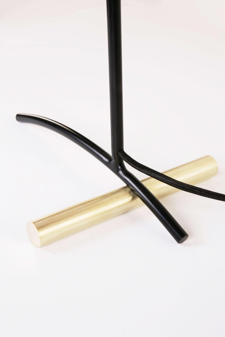 Mid-Century Modern DE Table Lamp with Aluminum Shade and Solid Steel or Brass Tube Weight For Sale