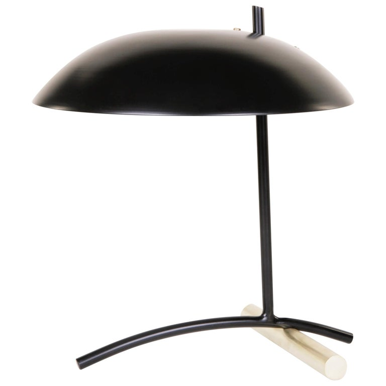 DE Table Lamp with Aluminum Shade and Solid Steel or Brass Tube Weight For Sale