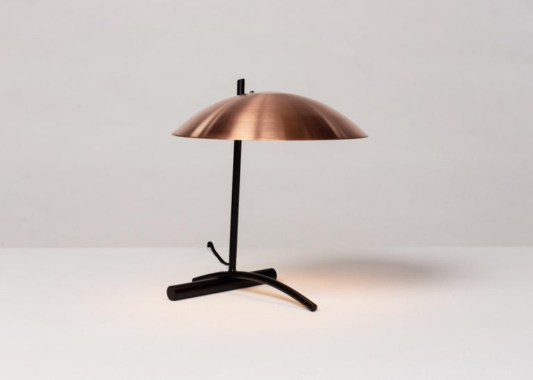 American DE Table Lamp with Aluminum Shade and Solid Steel or Brass Tube Weight For Sale