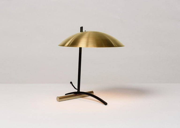 DE Table Lamp with Aluminum Shade and Solid Steel or Brass Tube Weight In New Condition For Sale In Los Angeles, CA