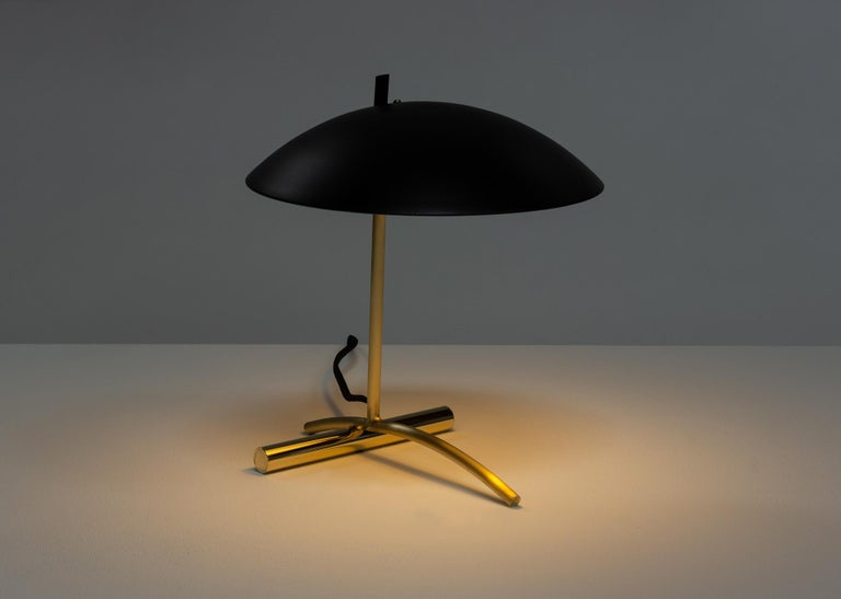 Contemporary DE Table Lamp with Aluminum Shade and Solid Steel or Brass Tube Weight For Sale