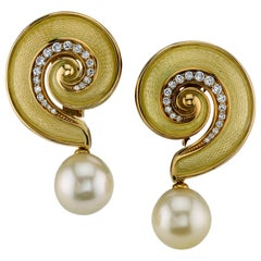 De Vroomen Yellow Gold and Enamel Earrings with Diamonds and Detachable Pearls