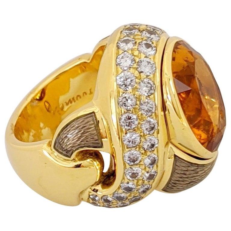 de Vroomen 18 Karat Yellow Gold, 10.77 Carat Citrine, Diamond and Enamel Ring For Sale