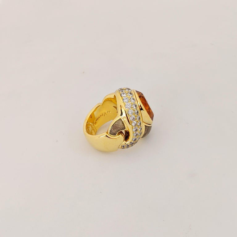 Contemporary de Vroomen 18 Karat Yellow Gold, 10.77 Carat Citrine, Diamond and Enamel Ring For Sale