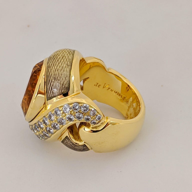 Women's or Men's de Vroomen 18 Karat Yellow Gold, 10.77 Carat Citrine, Diamond and Enamel Ring For Sale