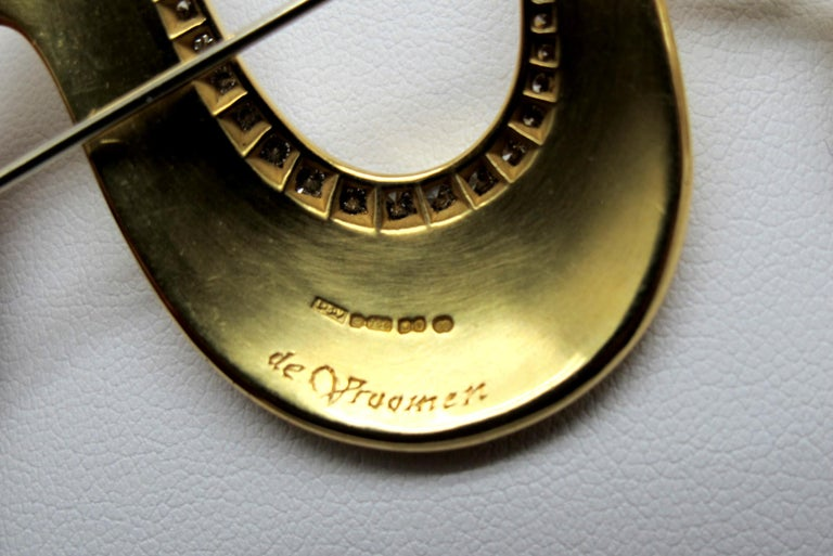 Artisan De Vroomen Enamel, Pearl and Diamond Brooch 18 Karat Yellow Gold For Sale
