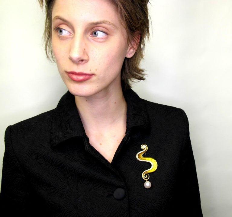 Women's or Men's De Vroomen Enamel, Pearl and Diamond Brooch 18 Karat Yellow Gold For Sale