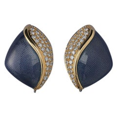 De Vroomen Gold Diamond and Enamel Ear Clips