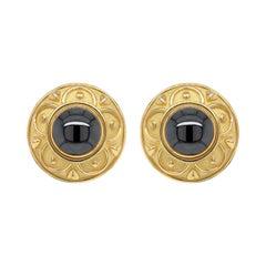 De Vroomen Hematite 18 Carat Yellow Gold Clip-On Earrings