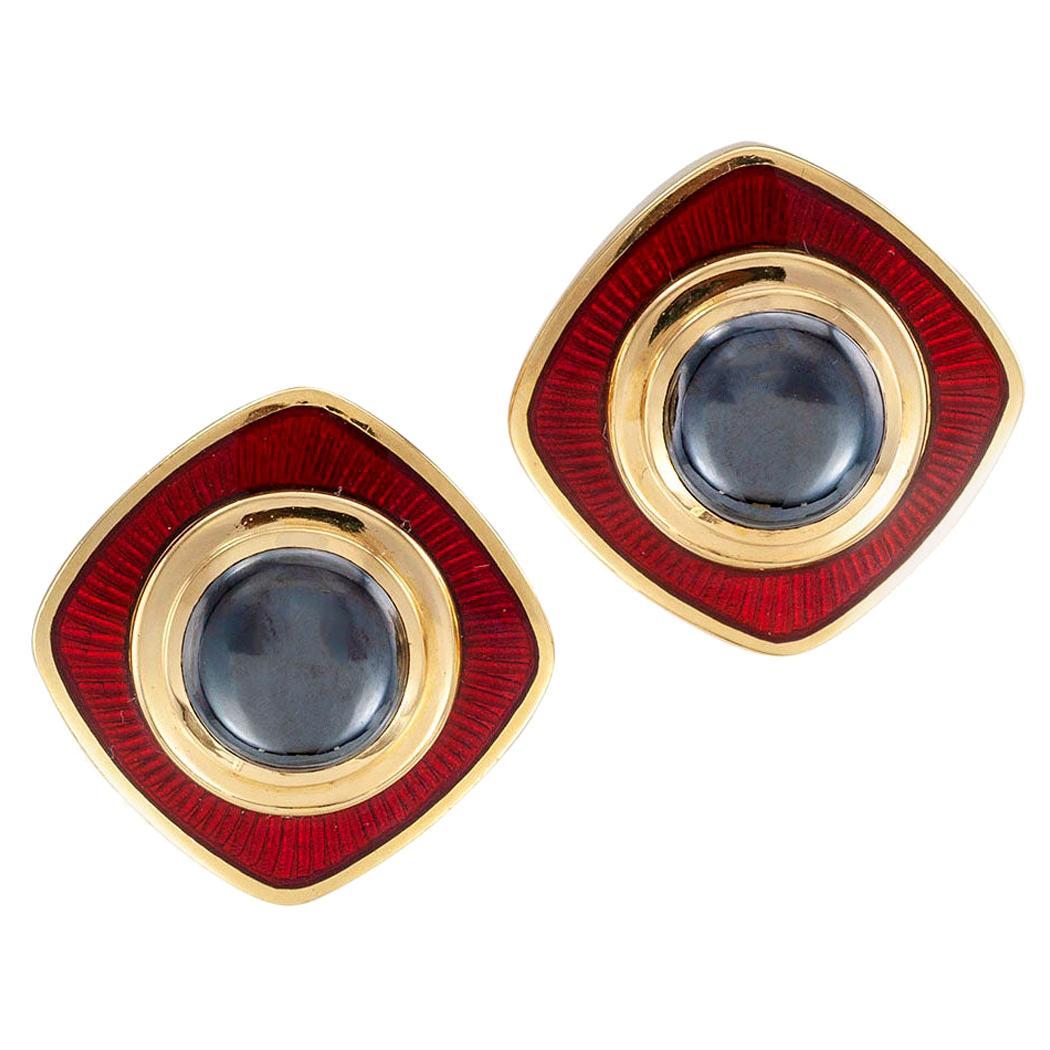 De Vroomen Hematite Red Enamel Yellow Gold Clip Earrings