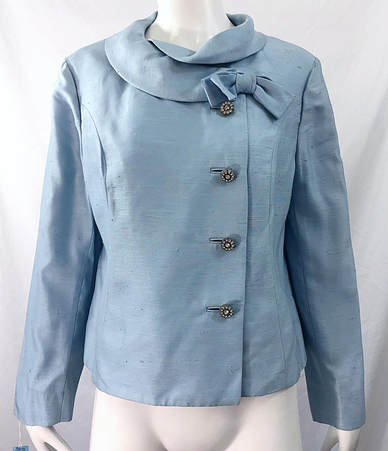 Deadstock 1960s Alvin Handmacher Light Blue Rhinestone Vintage 60s Skirt Suit In New Condition For Sale In Chicago, IL