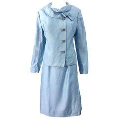 Deadstock 1960s Alvin Handmacher Light Blue Rhinestone Vintage 60s Skirt Suit
